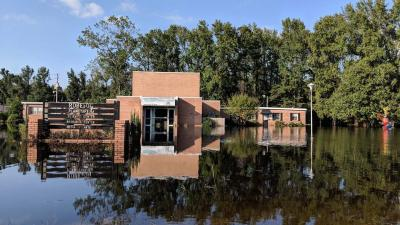 flooded building in Robeson
